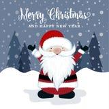Beautiful Christmas card with Santa. Christmas poster. Vector royalty free illustration