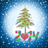 Beautiful Christmas card 2014 with shiny hearts tree. On starry sky background Vector Illustration