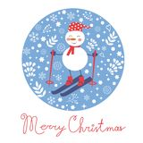 Beautiful Christmas card with snowman skiing Royalty Free Stock Image