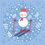 Beautiful Christmas card with snowman skiing Stock Photo