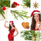 Beautiful Christmas collage. Green fir, gold star, smiling woman, red ball, candle Stock Photos