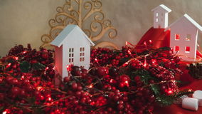 Beautiful Christmas composition with small house stock video