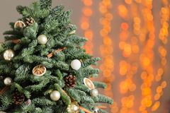 Beautiful Christmas tree on wooden boards. Preparation for holidays concept. Flower shop is a master work of a Stock Image