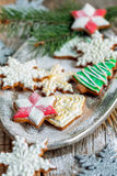 Beautiful Christmas cookies on a tray. Stock Photo
