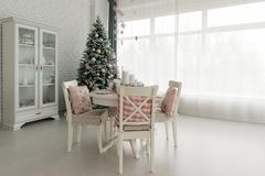 Beautiful Christmas decorated light living room with a Christmas royalty free stock photography