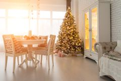 Beautiful Christmas decorated light living room with a Christmas royalty free stock images