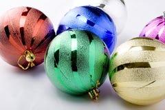 Beautiful christmas decoration balls. Beautiful christmas tree decorations balls on a white background stock photography