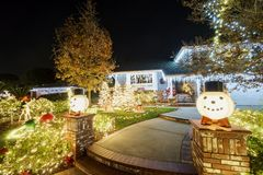 Beautiful christmas decoration at Brea Neighborhood. Los Angels County, California Royalty Free Stock Photo