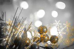 Beautiful Christmas decoration close up. Abstract background with bokeh lights Royalty Free Stock Photography