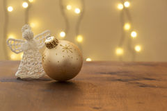 Beautiful christmas decoration, with knitten angel and xmas ball Royalty Free Stock Image