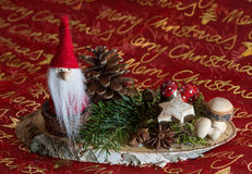 Beautiful christmas decoration. With Santa Claus and pine Stock Photo
