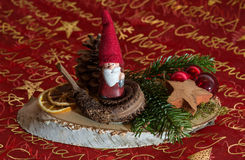 Beautiful christmas decoration. With Santa Claus and pine Royalty Free Stock Photography