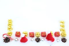 Beautiful christmas decoration in the snow royalty free stock photo