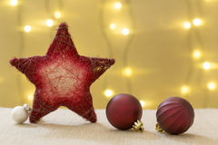 Beautiful christmas decoration, with star nad xmas balls Royalty Free Stock Images