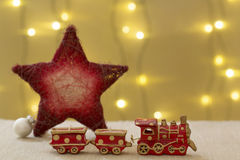 Beautiful christmas decoration, with train, star and xmas ball Stock Image