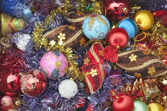 Beautiful Christmas decorations. Christmas decorations before putting on the christmas tree royalty free stock images