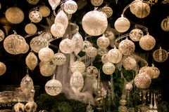 Beautiful Christmas decorations display window, elegant pearl, silver, white coloured Christmas tree balls and decors royalty free stock images