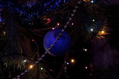 Beautiful Christmas decorations for home and Christmas trees. Beautiful Christmas decorations for the home and the Christmas tree, shiny birds, unusual balls Stock Photography