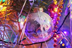 Beautiful Christmas decorations for home and Christmas trees. Beautiful Christmas decorations for the home and the Christmas tree, shiny birds, unusual balls Stock Images