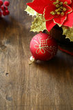 Beautiful Christmas decorations on plywood Stock Photos