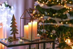 Beautiful Christmas decorations on table i. N living room royalty free stock image