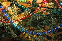 Beautiful christmas decorations. On xmas tree Royalty Free Stock Image