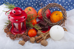 Beautiful Christmas decorative composition Stock Photos