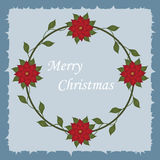 Beautiful Christmas decorative frame with Christmas flowers. In a circle on a blue background. Pattern to decorate greeting cards. vector illustration Royalty Free Stock Photography