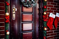 Beautiful Christmas door stock photos