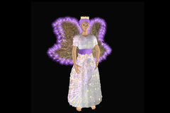 Beautiful christmas fairy. In shining dress with bright wings. 3d illustration vector illustration