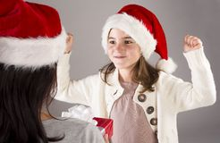 Beautiful christmas family Stock Photos