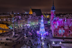 Beautiful Christmas fir-tree on Palace Square of Warsaw. In the evening, the top view royalty free stock image