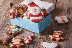 Beautiful Christmas gingerbread cookies in a gift box. horizonta Royalty Free Stock Image