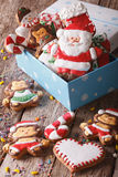 Beautiful Christmas gingerbread cookies in a gift box. Vertical Royalty Free Stock Image