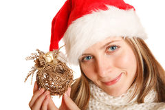 Beautiful christmas girl with ball decoration Stock Photo
