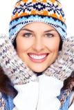 Beautiful christmas girl face. Beautiful christmas girl portrait isolated on white background stock photo