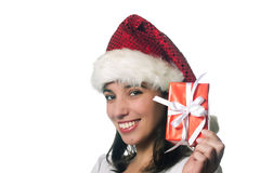 Beautiful christmas girl with a gift. Isolated on white background Royalty Free Stock Photography