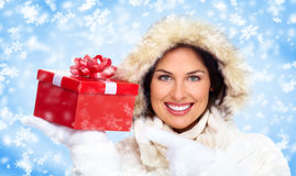 Beautiful christmas girl with gifts. Stock Photo