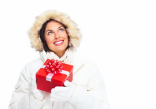 Beautiful christmas girl with gifts. Royalty Free Stock Images