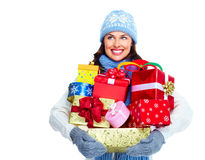 Beautiful christmas girl with gifts. Royalty Free Stock Photo