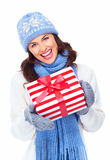 Beautiful christmas girl with gifts. Royalty Free Stock Photography