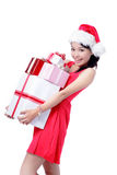 Beautiful Christmas Girl happy holding gift Royalty Free Stock Photography