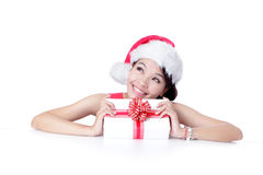 Beautiful Christmas Girl happy holding gift Royalty Free Stock Photos