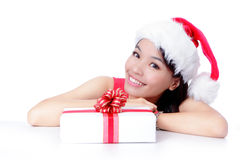 Beautiful Christmas Girl happy holding gift Royalty Free Stock Images