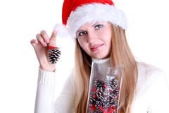 Beautiful christmas girl  holding cones Royalty Free Stock Images
