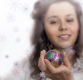 Beautiful Christmas Girl Holding In Own Hand Toy Royalty Free Stock Image
