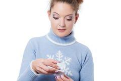 Beautiful christmas girl opening gift Royalty Free Stock Photography
