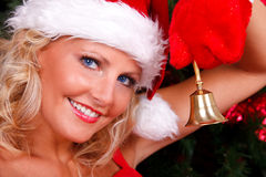 Beautiful Christmas girl in red Stock Photos