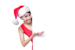 Beautiful Christmas Girl smile Show billboard Royalty Free Stock Photo