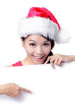 Beautiful Christmas Girl smile Showing Stock Image